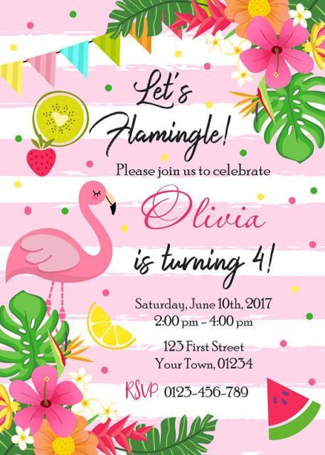 Convite Flamingo rosa e branco