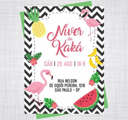 Convite decorado com flamingos e frutas