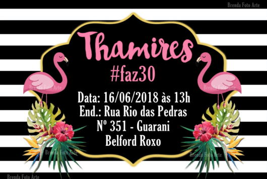 Convite flamingo para aniversário de 30 anos