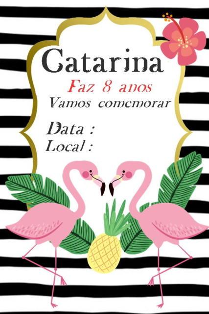 convite Flamingo e abacaxi