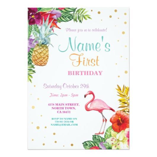 Convite decorado com flamingo, flores, bem como abacaxi