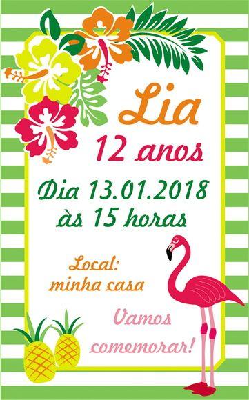 O flamingo é usado para convite de festa tropical