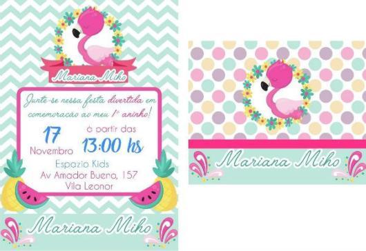 Ideia de convite estilo 'baby' de flamingo