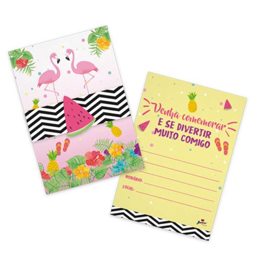 Frente e verso de convite flamingo com abacaxi