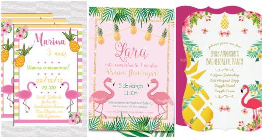 convite flamingo com abacaxi
