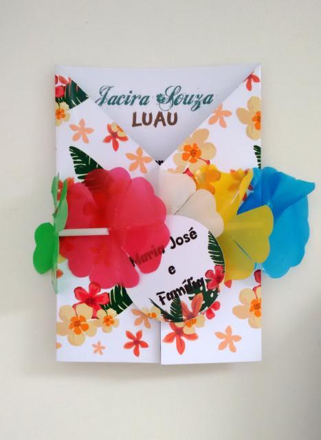 convite havaiano arte com criatividade