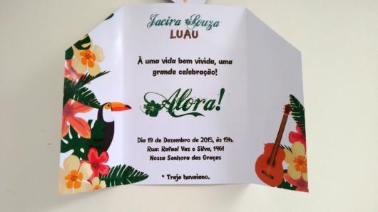 arte de convite havaiano impresso