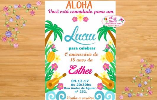 arte online para convite havaiano