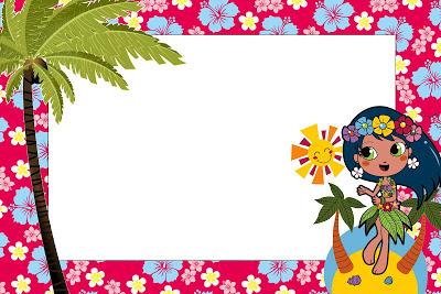 moldura para convite havaiano
