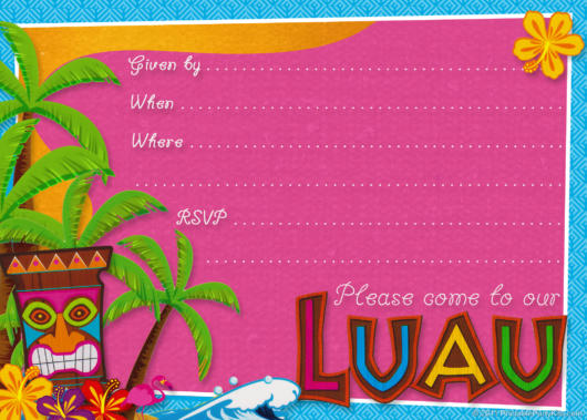 convite havaiano arte pronta