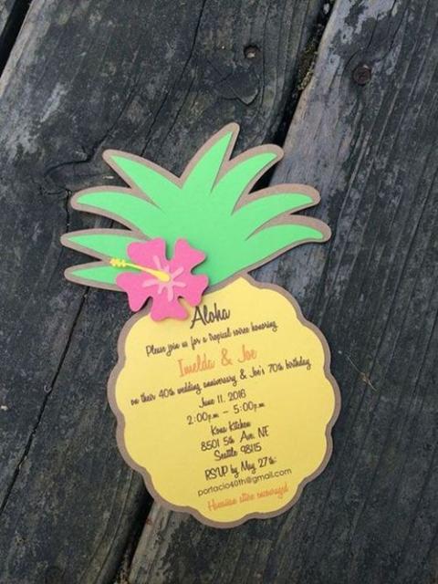 convite havaiano arte abacaxi
