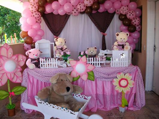 decoração rosa e marrom