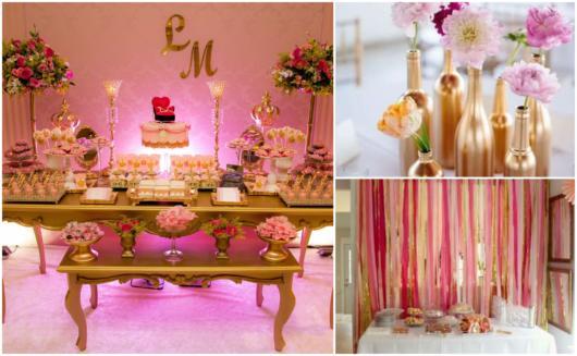 Dicas de decoração com rosa e dourado