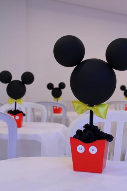 Veja como fica a disposição do enfeite do Mickey nas mesas no salão