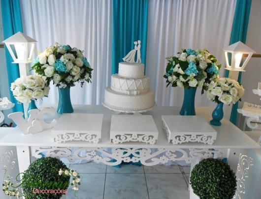 festa azul tiffanny decoração com branco