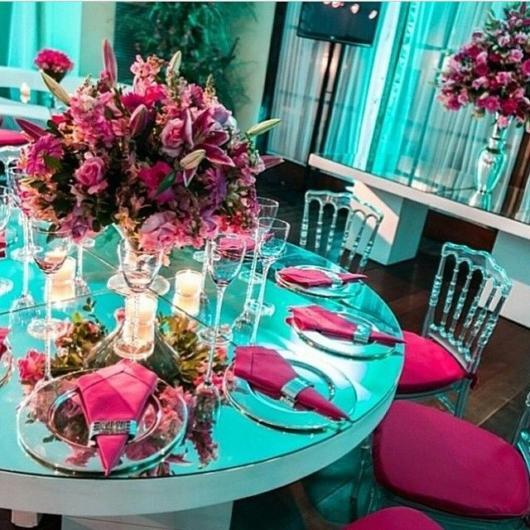 festa azul tiffany com rosa pink