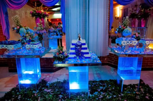 festa azul tiffany com azul branco e roxo