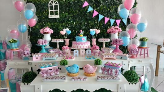 festa azul tiffany com rosa e azul