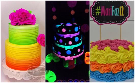 O bolo neon pode ser feito com pasta americana ou chantilly