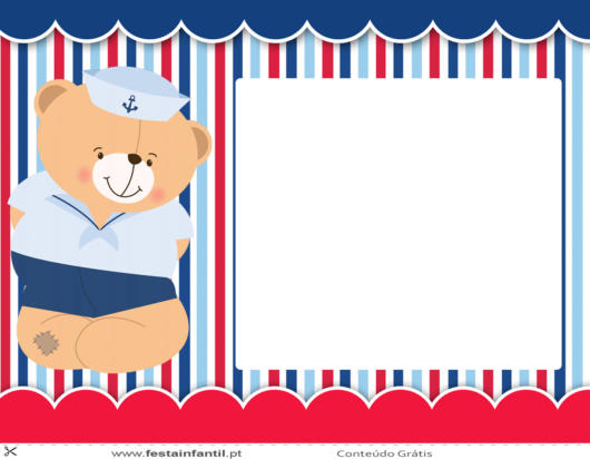 convite festa ursinho marinheiro