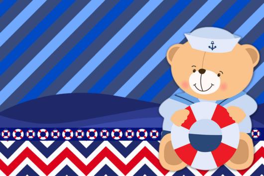 arte convite festa ursinho marinheiro