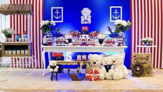 decoração salão festa ursinho marinheiro