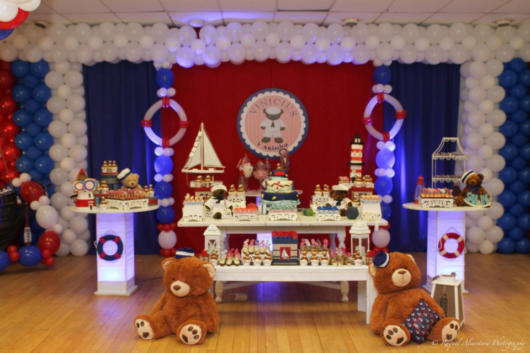 mesa branca festa ursinho marinheiro