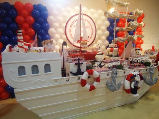 barco na decoração festa ursinho marinheiro