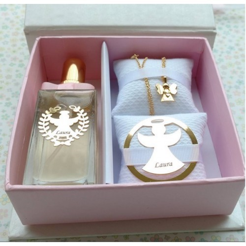 Perfume e colar para madrinha de batizado