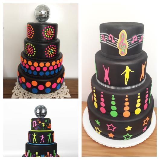 Diversas versões de bolo Neon + dicas incríveis para a sua festa temática