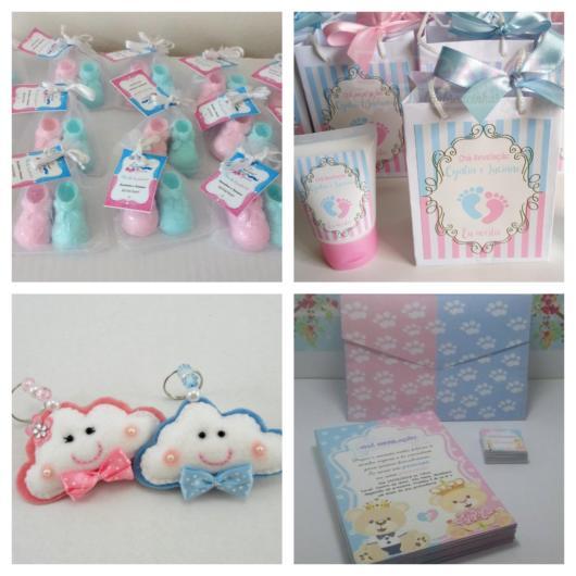 Os sabonetes de cores rosa e azul são populares, assim como produtos de beleza, chaveiros e até um lindo e criativo livro temático