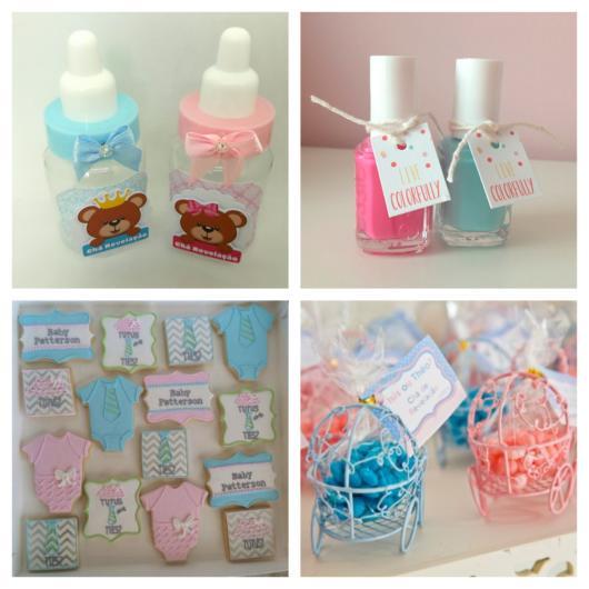 Mamadeiras pequenas, esmaltes, sabonetes e carrinhos de bebê com balinhas