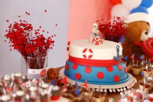 decoração de bolo festa ursinho marinheiro