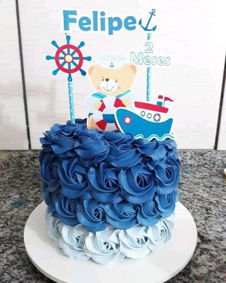 bolo ganache festa ursinho marinheiro