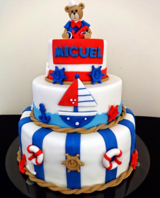bolo bonito festa ursinho marinheiro
