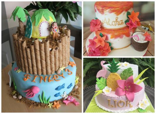 Modelos de bolo havaiano de pasta americana