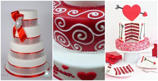 Modelos de bolo vermelho e branco