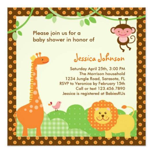 convite chá de bebê safari