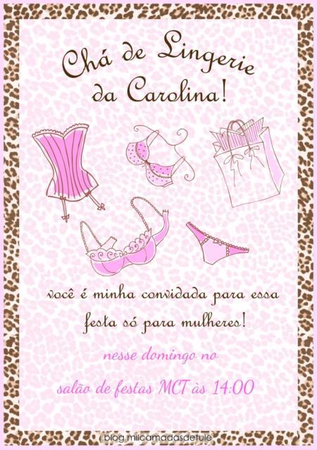 Convite chá de lingerie