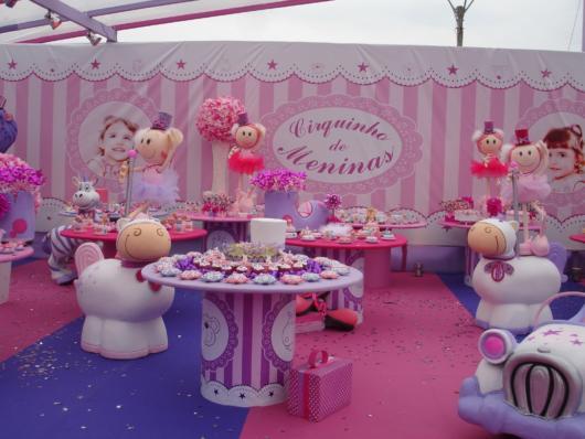 festa circo rosa luxo