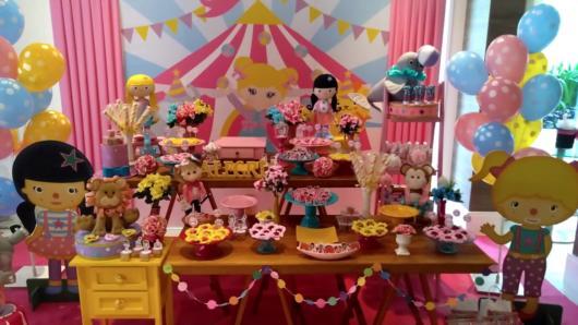 festa circo rosa vintage