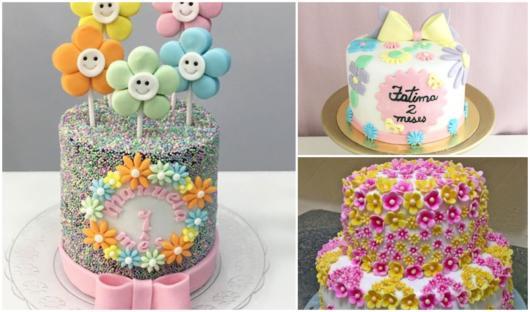 bolos para festa tema flores