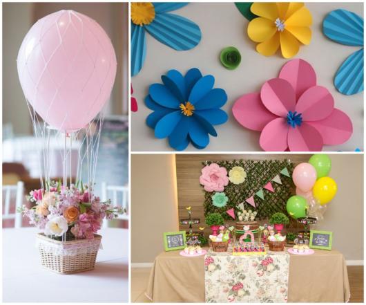 decoração de festa tema flores