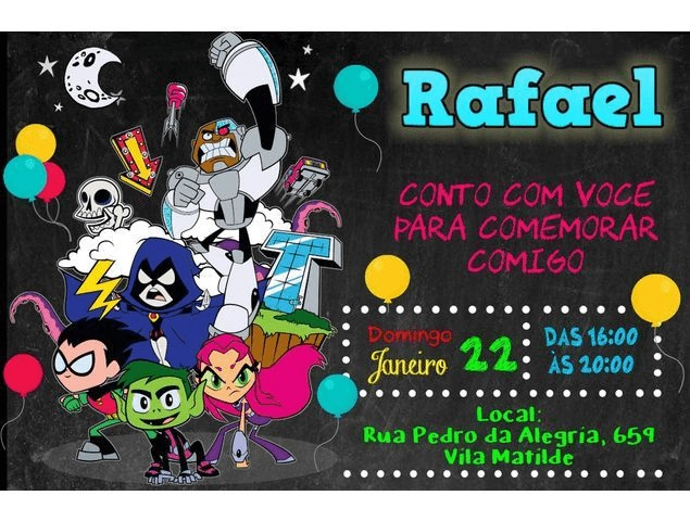 Lindo convite com todos os personagens em destaque e as informações essenciais da festa
