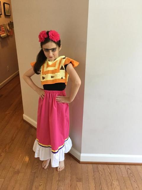 Fantasia frida kahlo: infantil com saia rosa