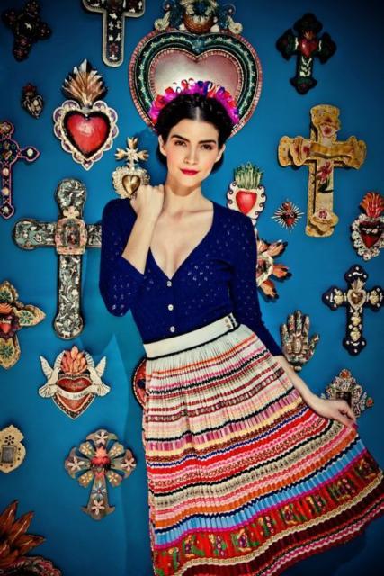 Fantasia frida kahlo: com saia listrada