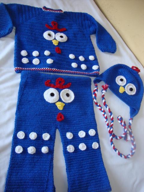 fantasia galinha pintadinha de crochê com calça