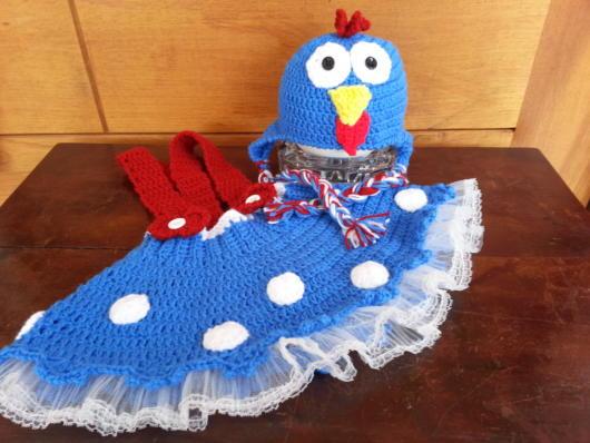 fantasia galinha pintadinha vestido de crochê