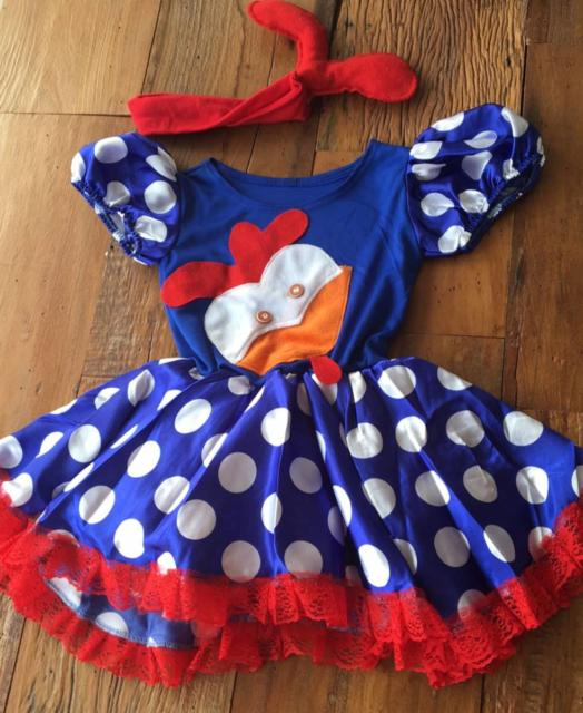 vestido personalizado fantasia galinha pintadinha