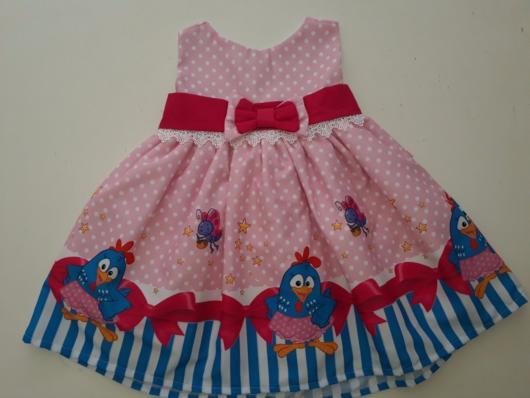 vestido rosa fantasia galinha pintadinha